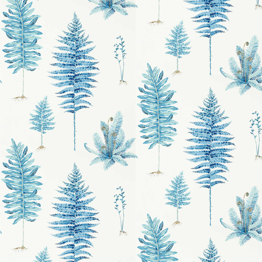 Fernery Wallpaper - China Blue - by Sanderson