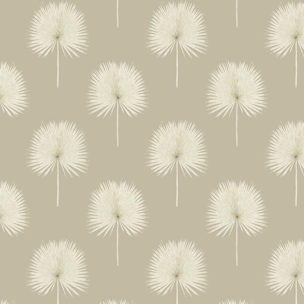 Fan Palm Wallpaper - Linen / Gilver - by Sanderson