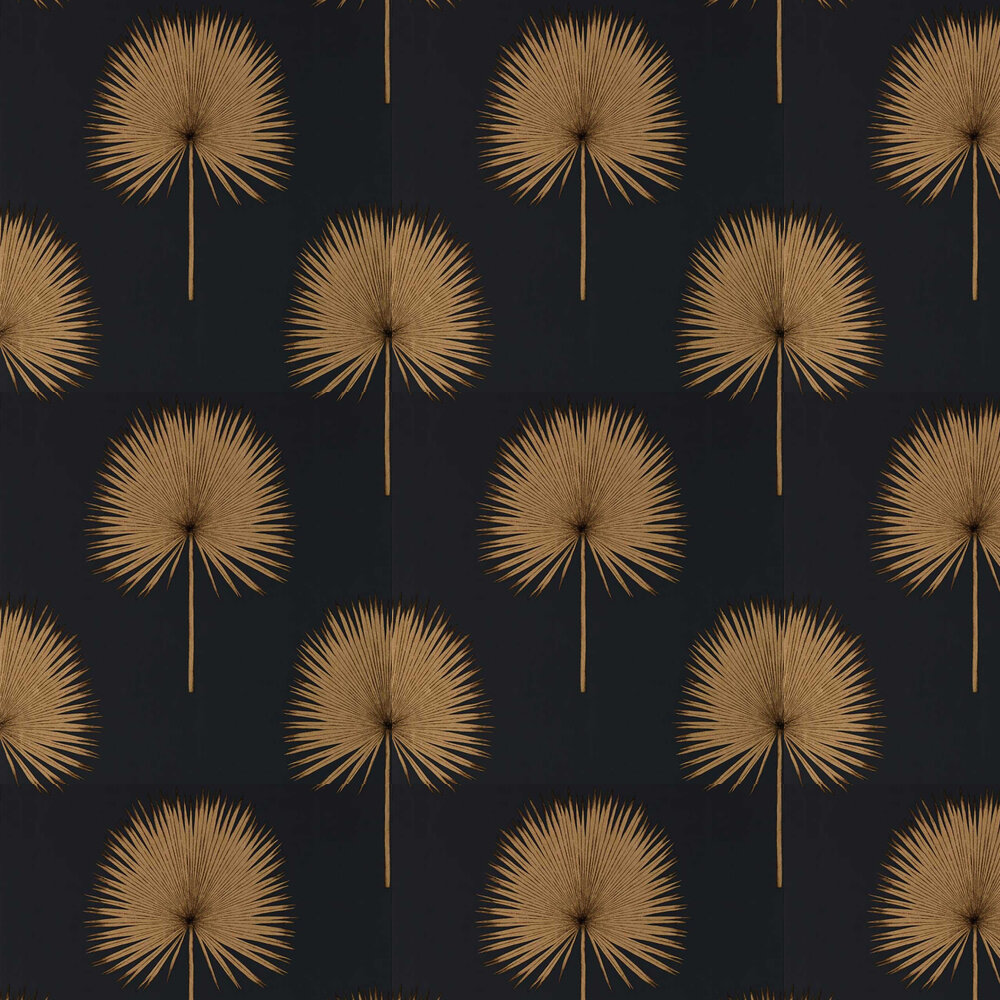 Sanderson Fan Palm Charcoal / Gold Wallpaper - Product code: 216639