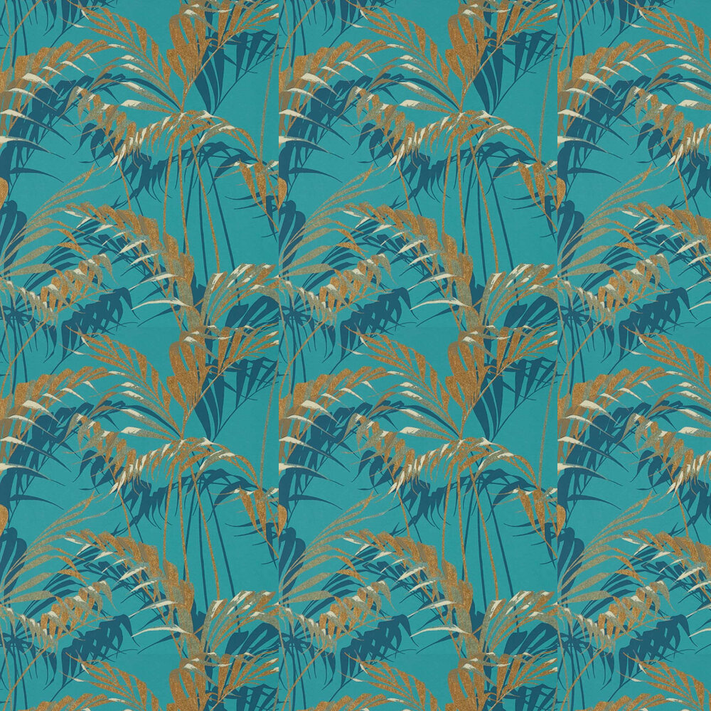 Sanderson Palm House Teal / Gold Wallpaper - Product code: 216640
