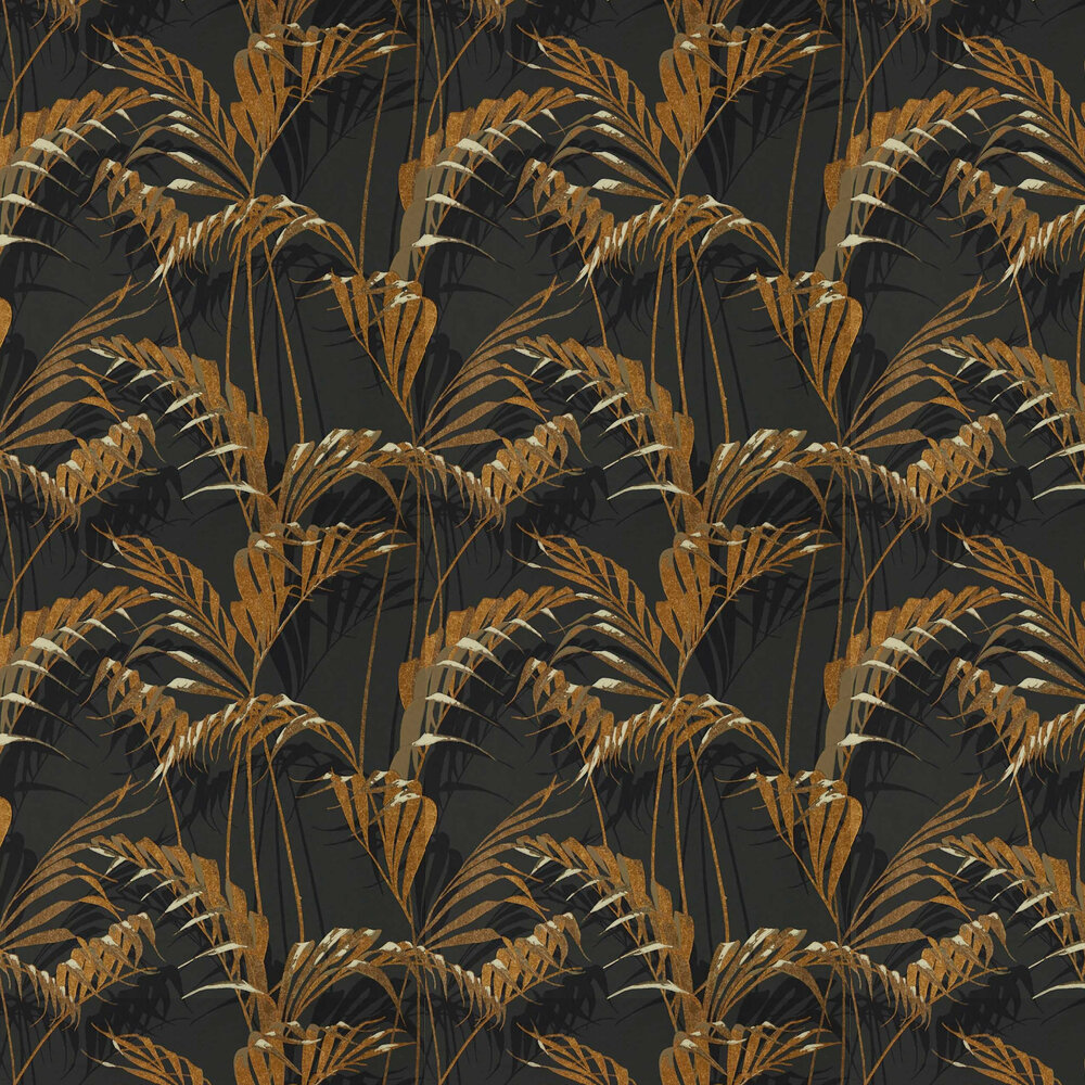 Palm House Wallpaper - Charcoal / Gold - by Sanderson