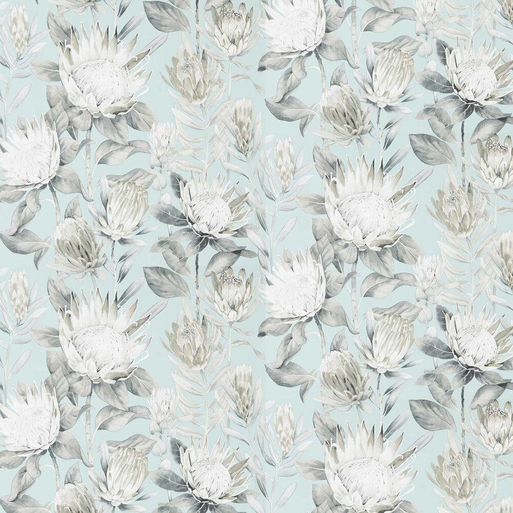 King Protea Wallpaper - Aqua / Linen - by Sanderson