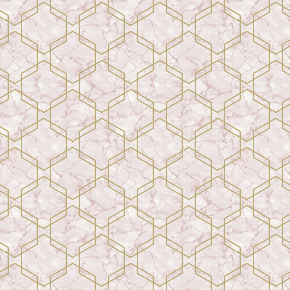 Ventura Wallpaper - Pink and Gold - by Albany