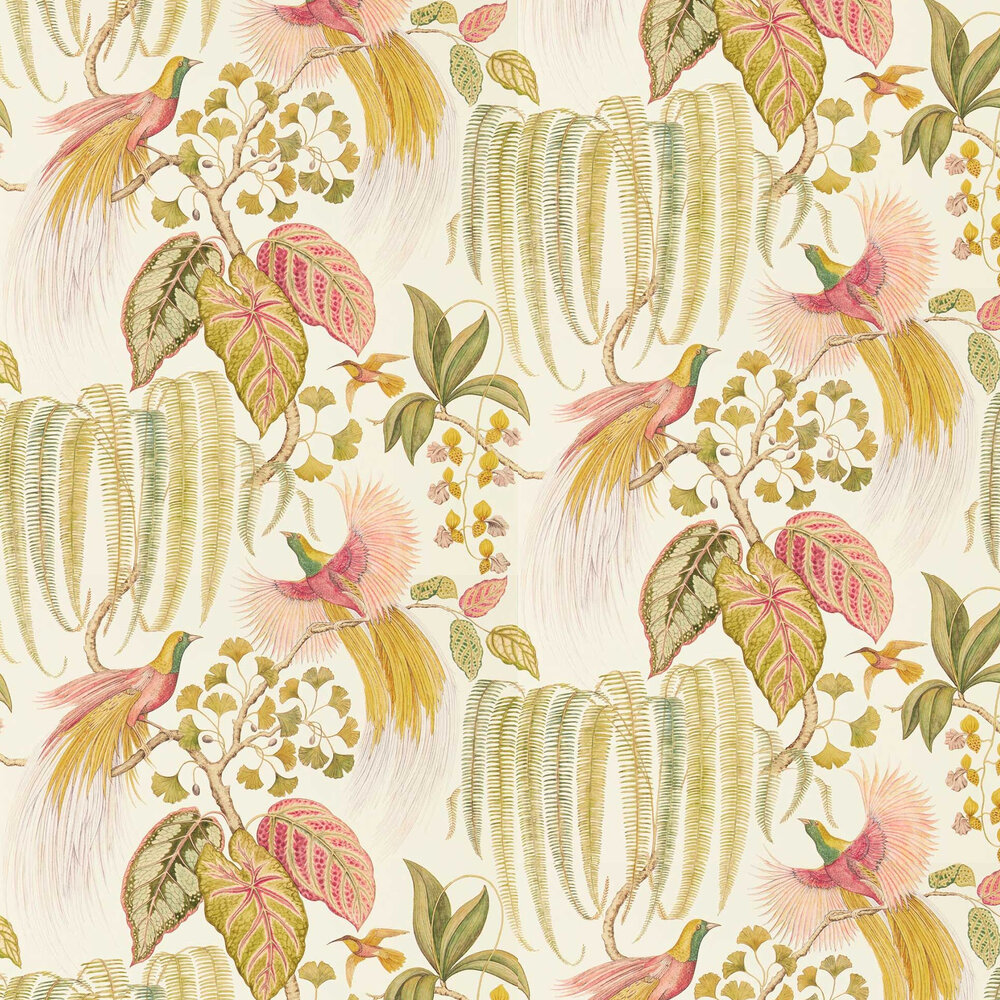 Bird of Paradise Wallpaper - Olive - by Sanderson