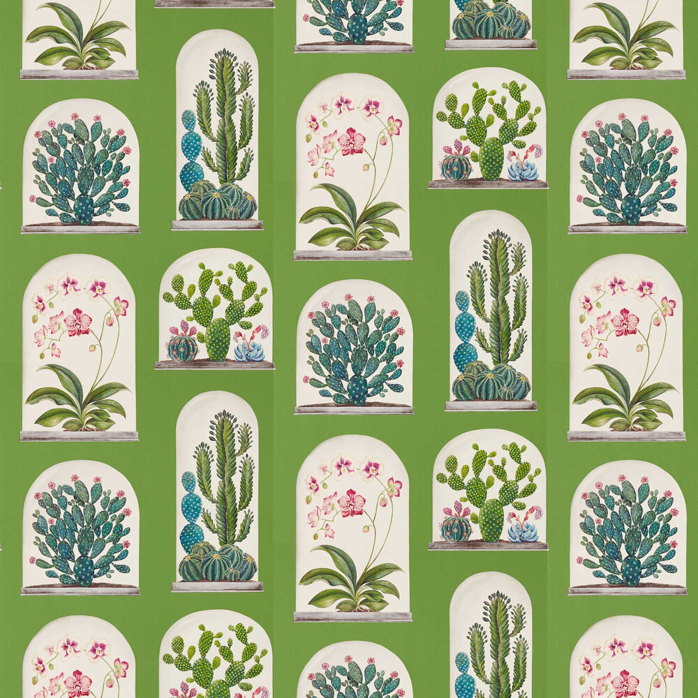 Terrariums Wallpaper - Botanical Green / Multi - by Sanderson
