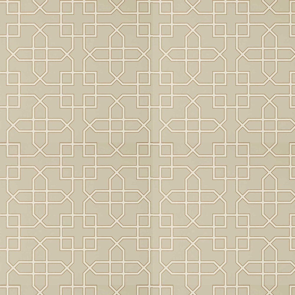Hampton Trellis Wallpaper - Linen - by Sanderson