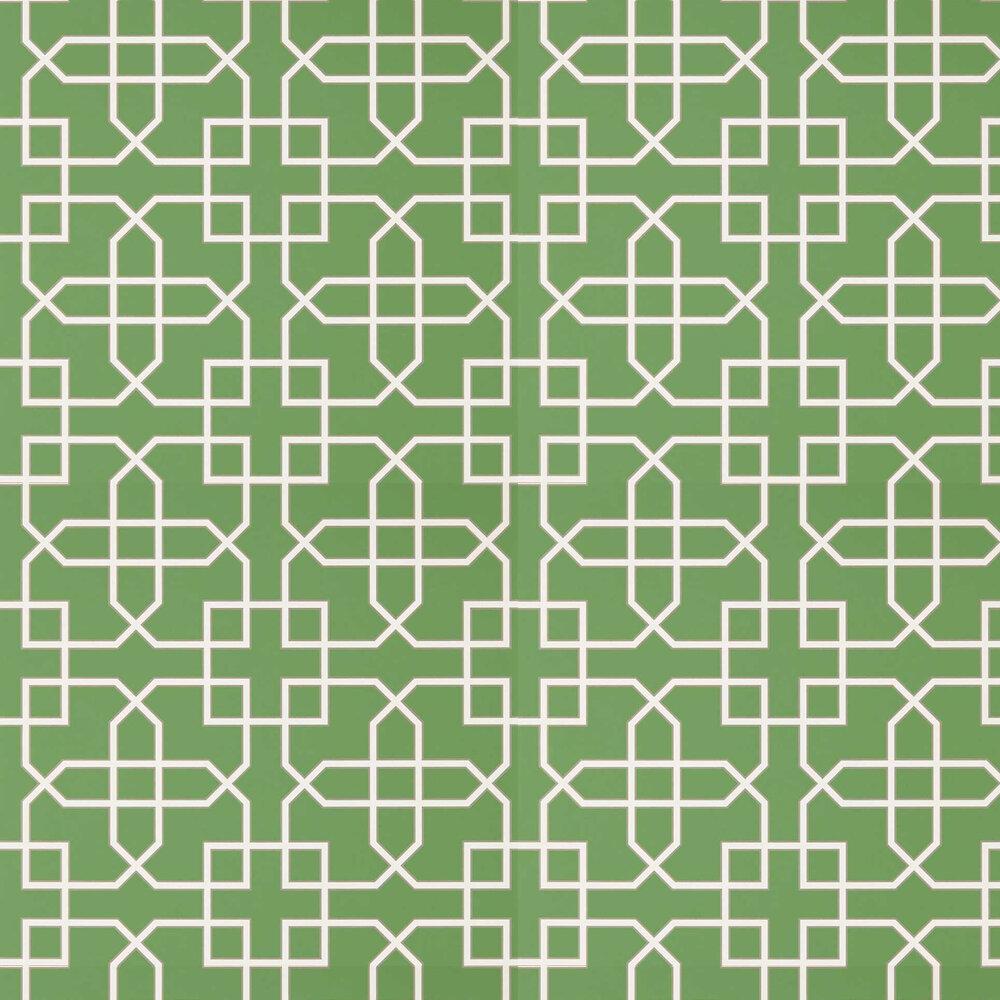 Hampton Trellis Wallpaper - Botanical Green - by Sanderson