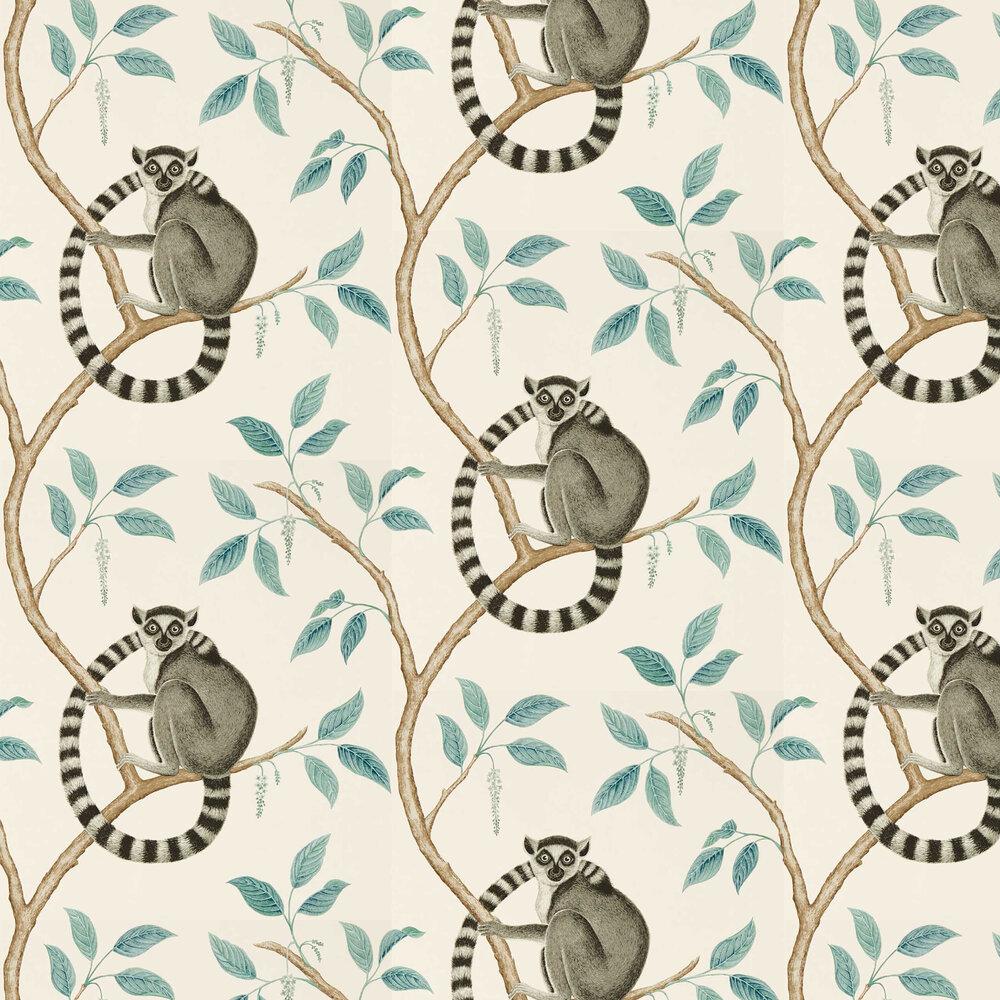 Ringtailed Lemur Wallpaper - Stone / Eucalyptus - by Sanderson