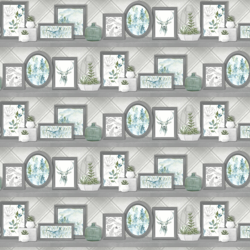 Albany Aberfeldy Grey and Teal Wallpaper - Product code: 90630