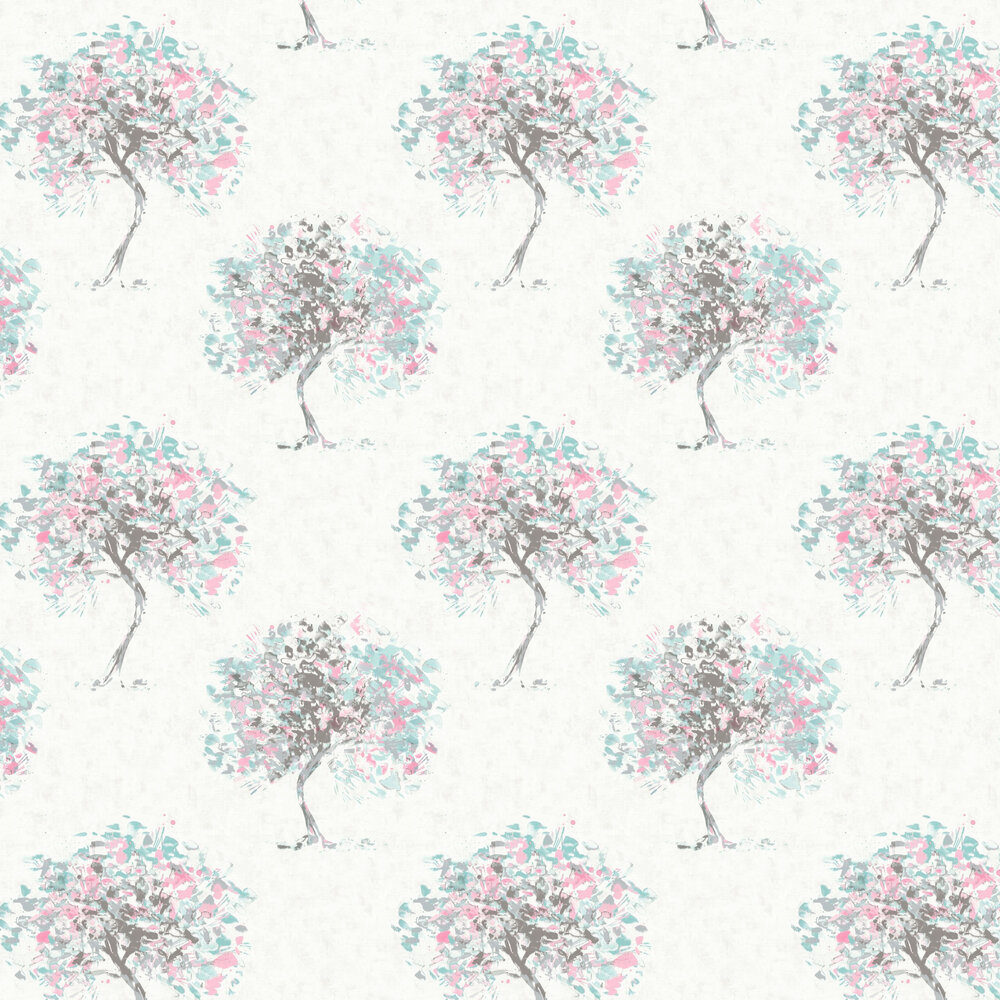 Beacon Fell Wallpaper - Duck egg and Pink - by Albany