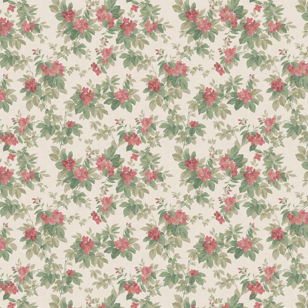 Silene Wallpaper - Green / Red - by Coordonne