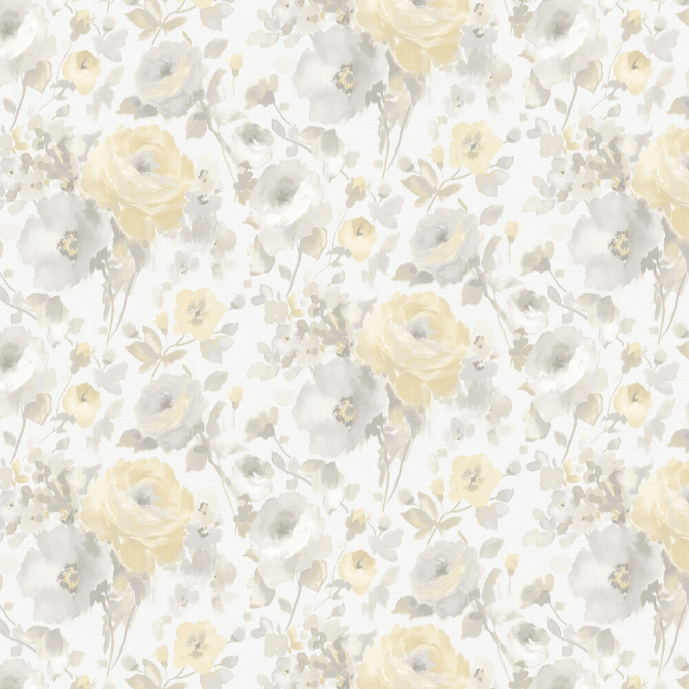 Rose Floral Wallpaper - Grey / Yellow - by Albany