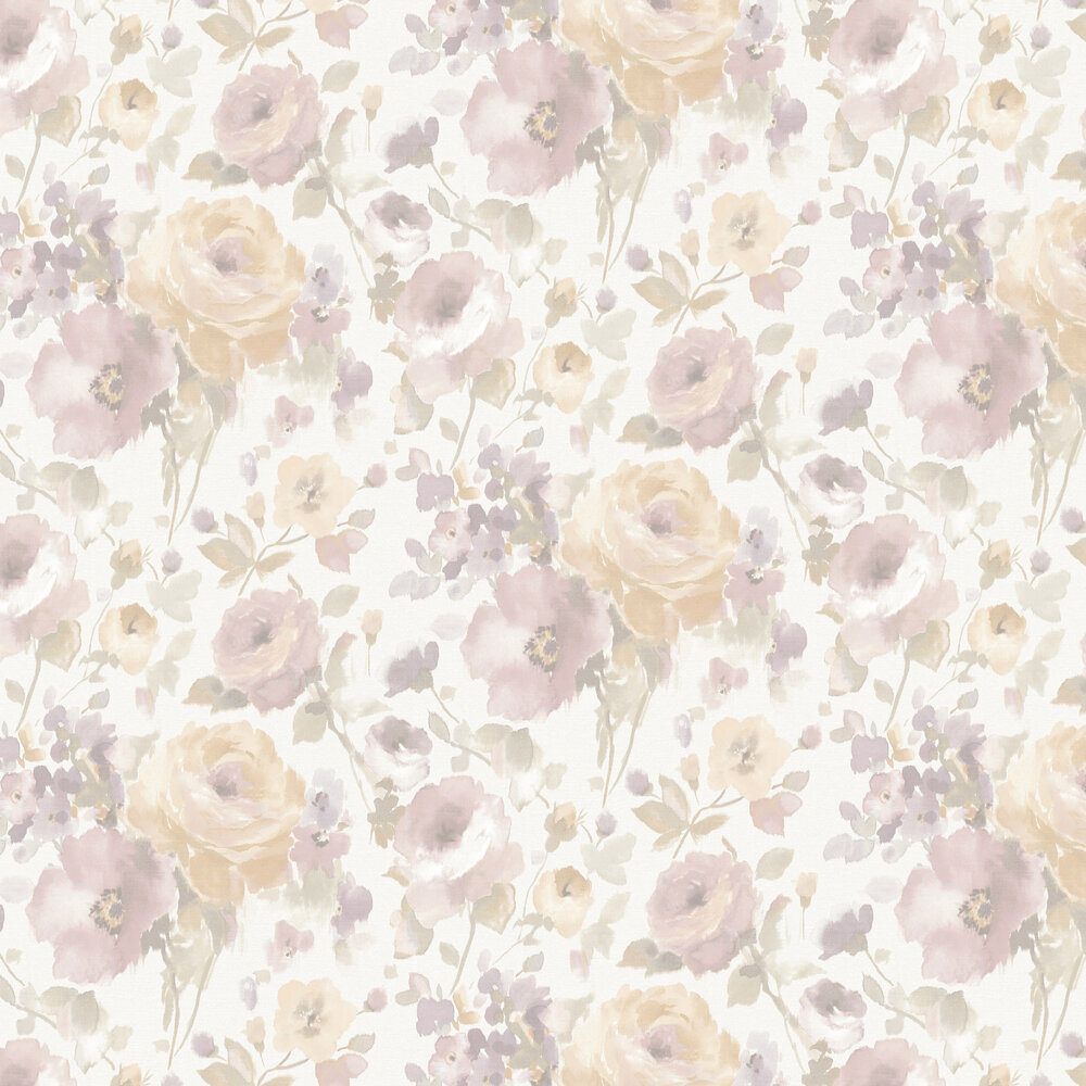 Rose Floral Wallpaper - Apricot  / Pink - by Albany