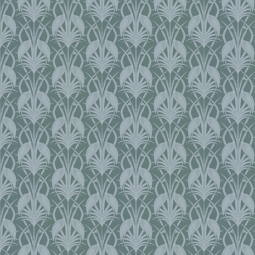 Heron  Wallpaper - Teal - by The Chateau by Angel Strawbridge