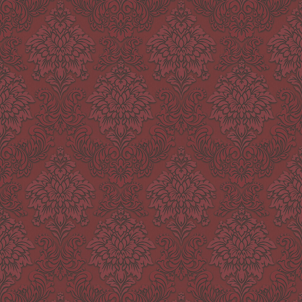 Contemporary Damask Wallpaper - Crimson - by Metropolitan Stories
