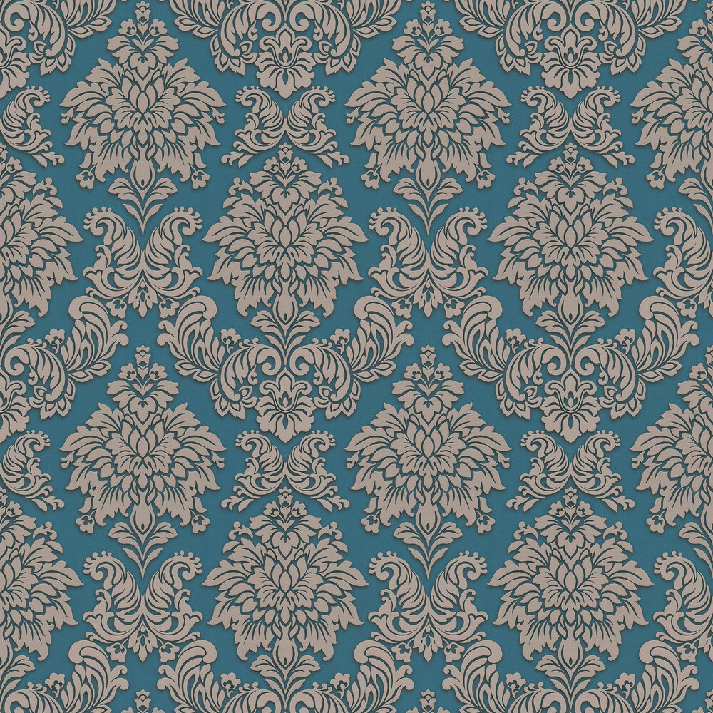 Contemporary Damask Wallpaper - Teal - by Metropolitan Stories