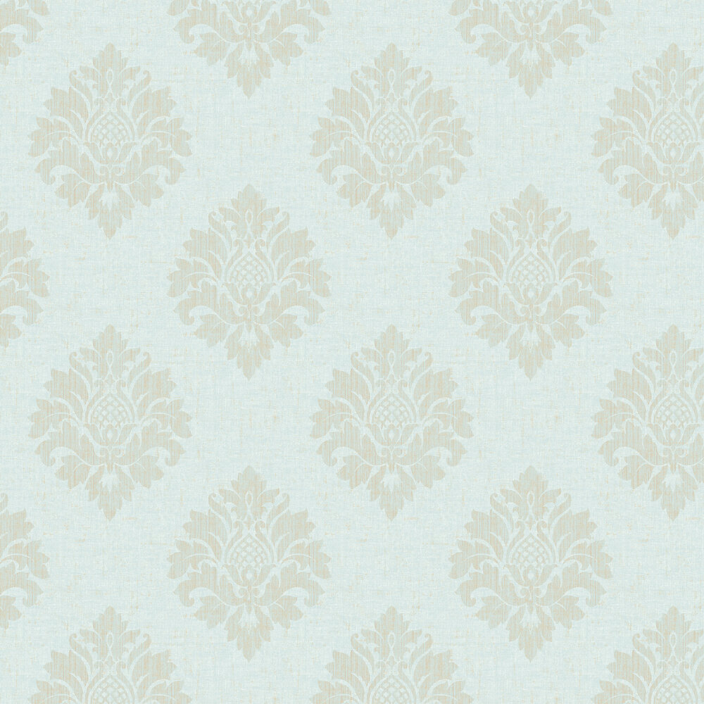 Textured Damask Wallpaper - Aqua - by SK Filson