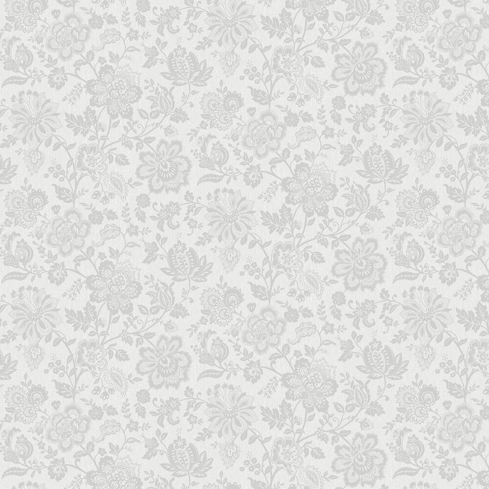 Floral Trail Wallpaper - Silver - by SK Filson