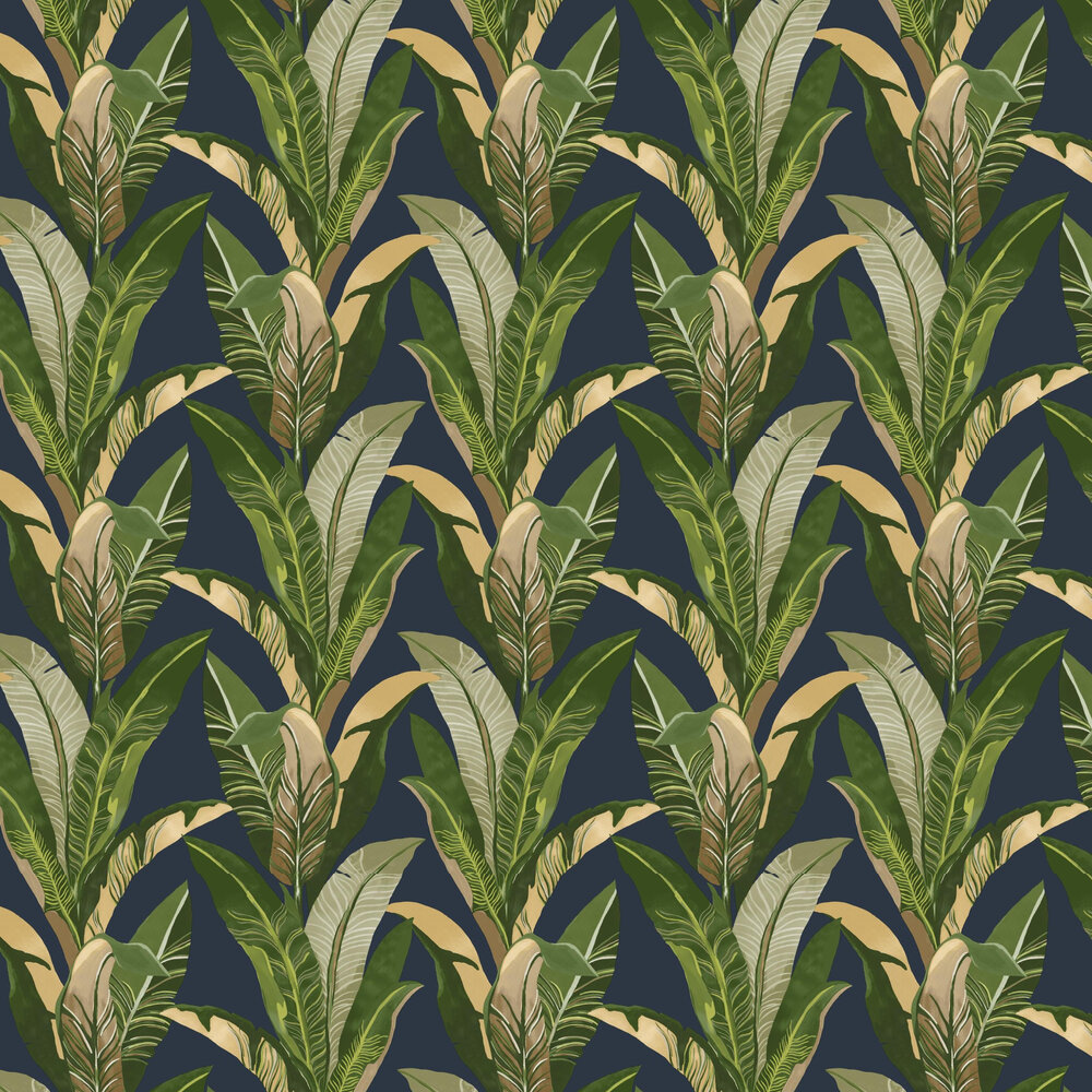 Eijffinger Jungle Palm Navy Wallpaper - Product code: 384504