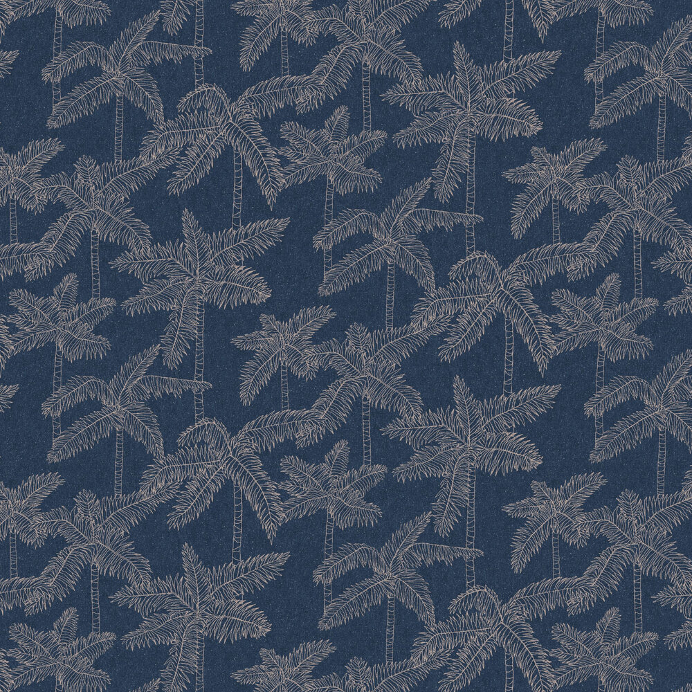 Palm Tree Wallpaper - Navy - by Eijffinger