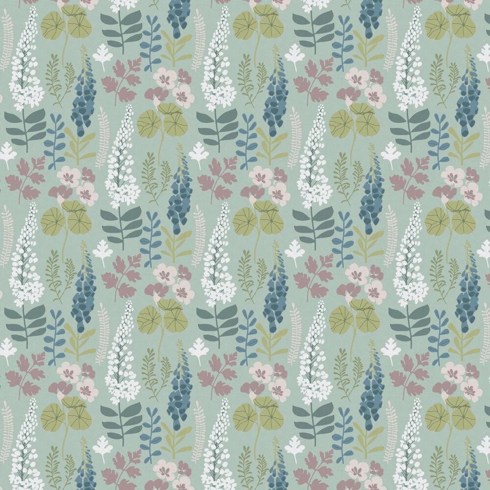Foxglove Trail Wallpaper - Teal - by Eijffinger