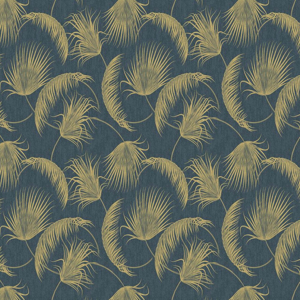 Oasis Leaves Wallpaper - Blue - by SK Filson