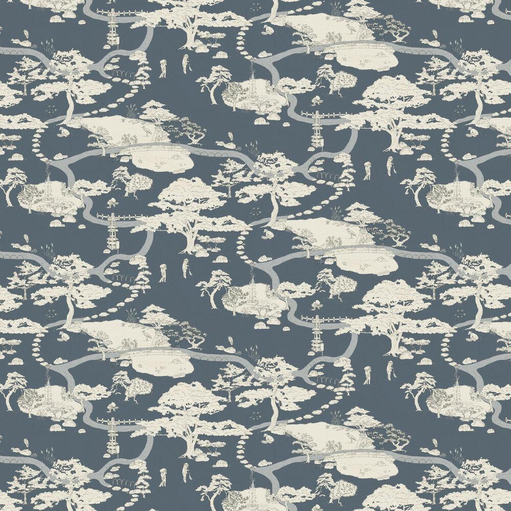 Kenrokuen Wallpaper - Navy - by Sandberg