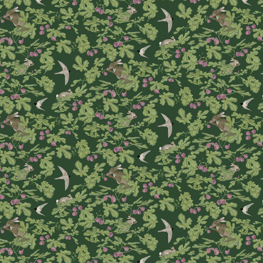 Fig Wallpaper - Green - by Petronella Hall