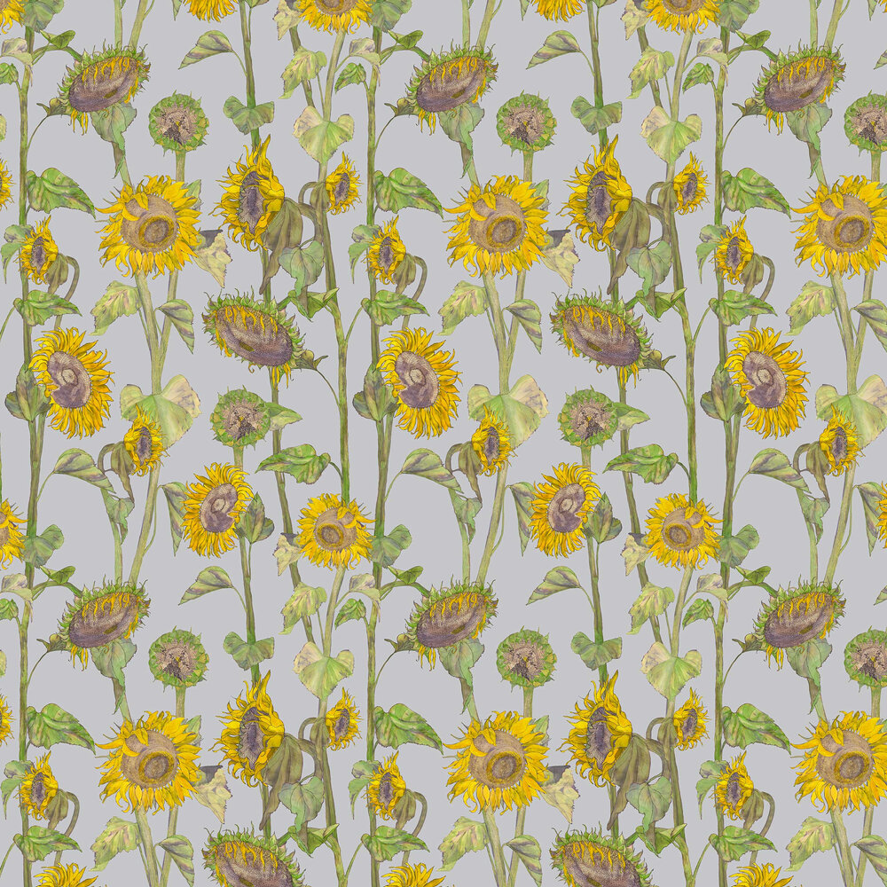 Sunflowers Wallpaper - Grey - by Petronella Hall