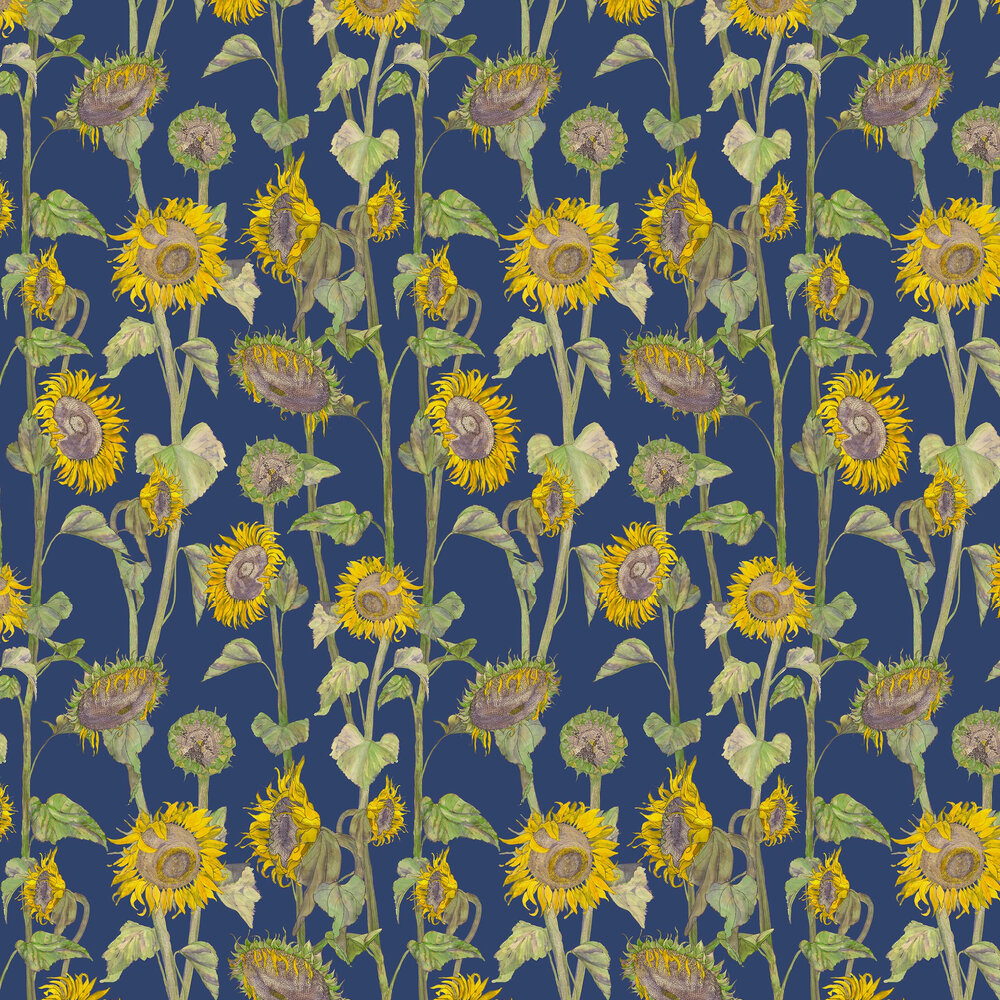 Sunflowers Wallpaper - Blue - by Petronella Hall