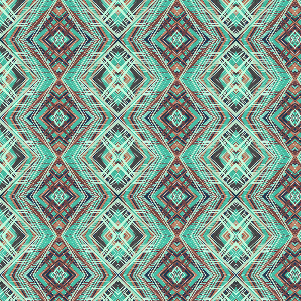 Techno Wallpaper - Turquoise - by Petronella Hall