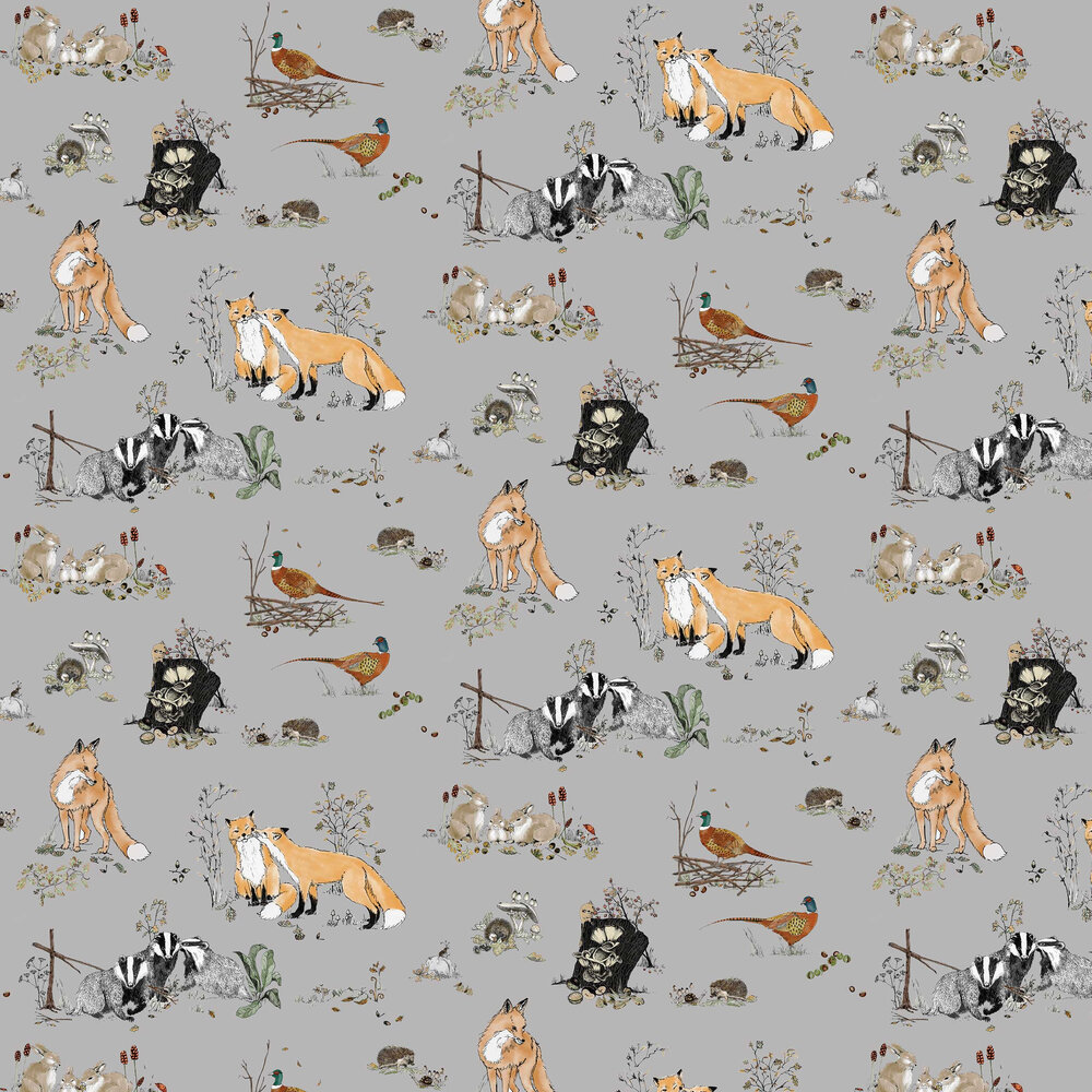 Woodlands Wallpaper - Grey - by Petronella Hall