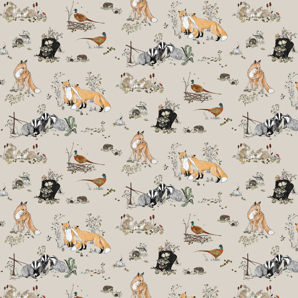 Woodlands Wallpaper - Beige - by Petronella Hall