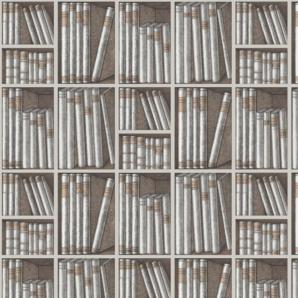 Ex Libris Wallpaper - Stone / Linen - by Cole & Son