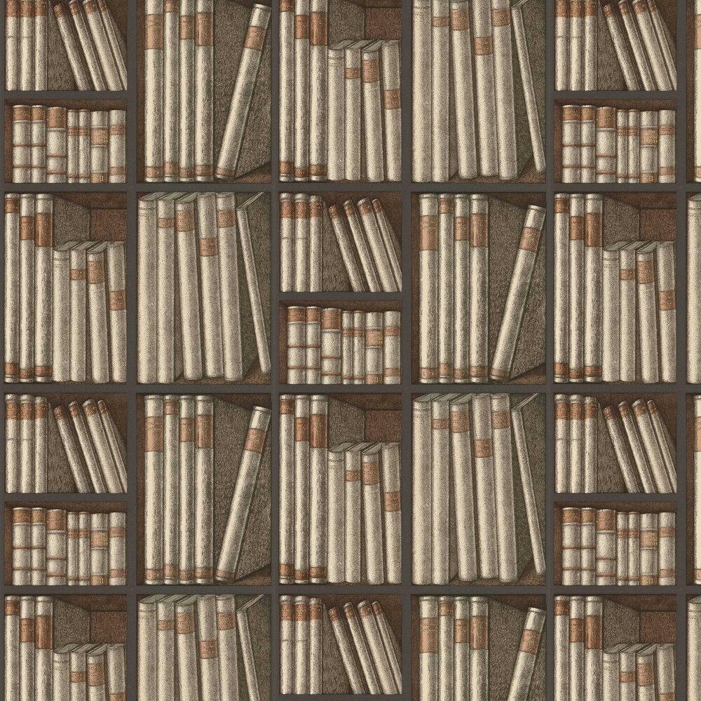 Ex Libris Wallpaper - Oat / Charcoal - by Cole & Son