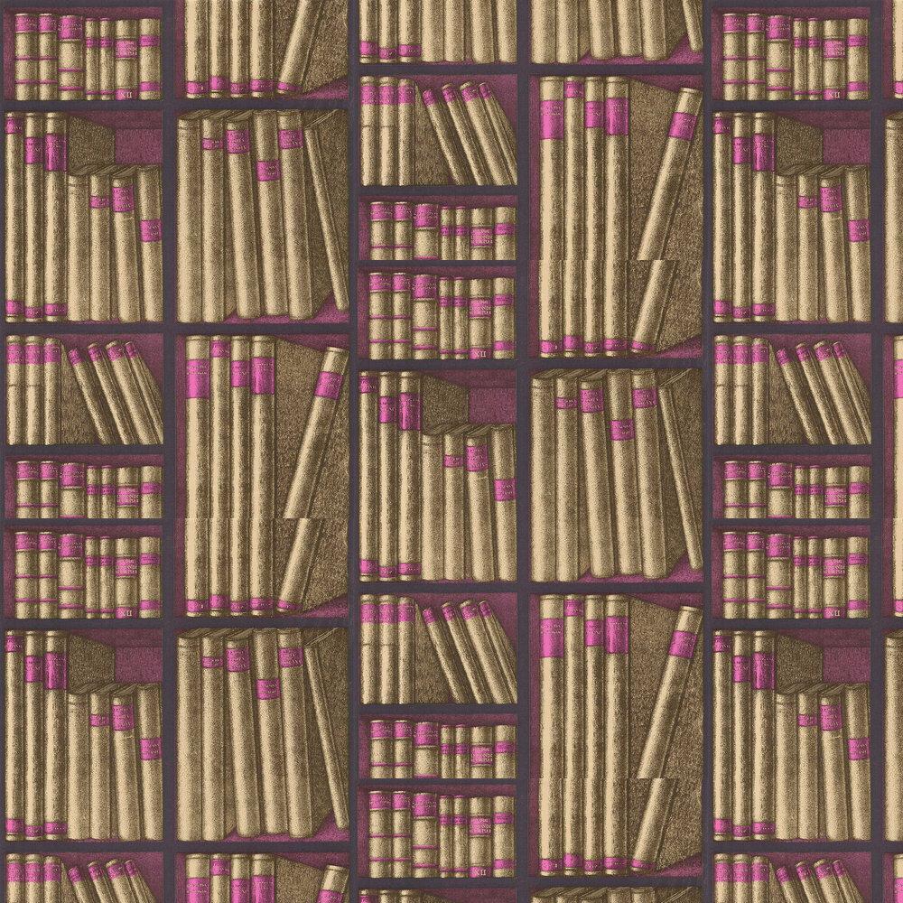 Ex Libris Wallpaper - Gold / Magenta - by Cole & Son