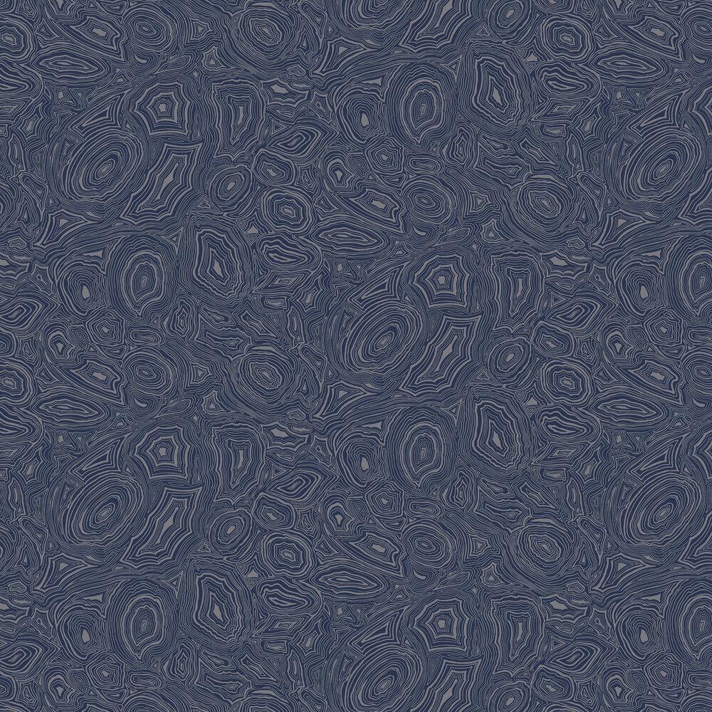 Malachite Wallpaper - Royal Blue / Silver  - by Cole & Son