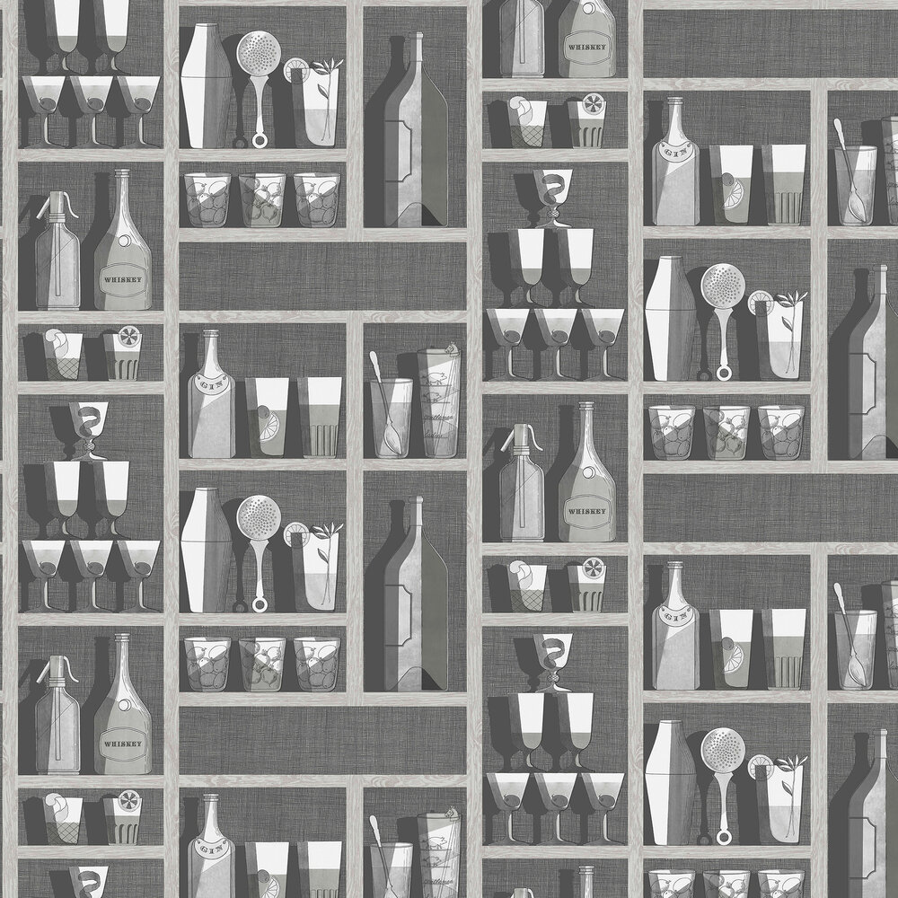 Cocktails Wallpaper - Soot / Snow - by Cole & Son