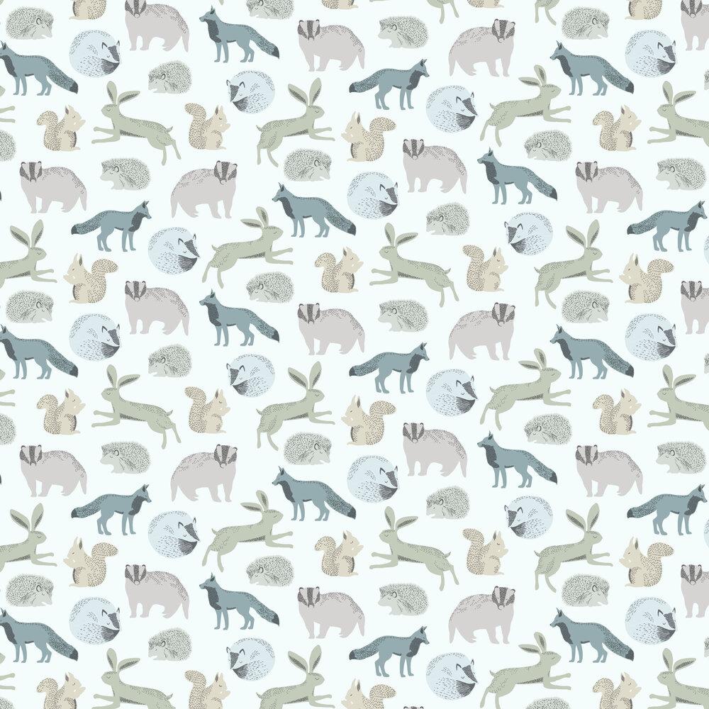 Forest Animals Wallpaper - Blue / Green - by Eijffinger