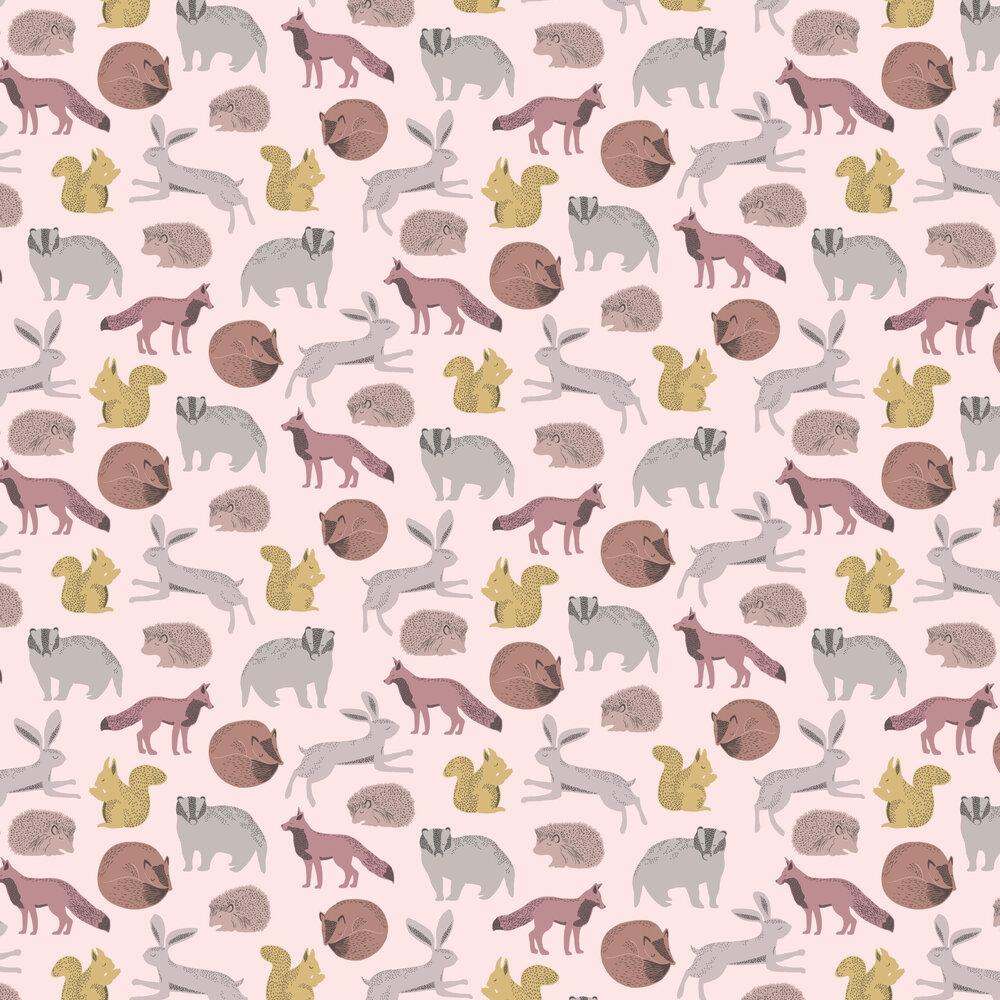 Forest Animals Wallpaper - Pink / Yellow - by Eijffinger