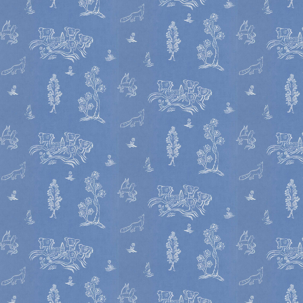 Wychwood  Wallpaper - Happy Blue - by Andrew Martin