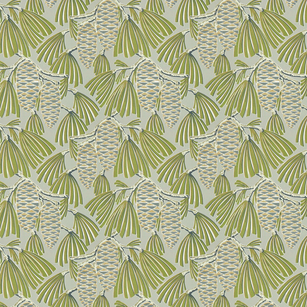 Foxley Wallpaper - Fern/ Stone - by Harlequin