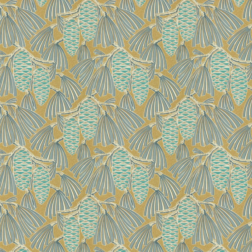 Foxley Wallpaper - Kingfisher/ Gold - by Harlequin