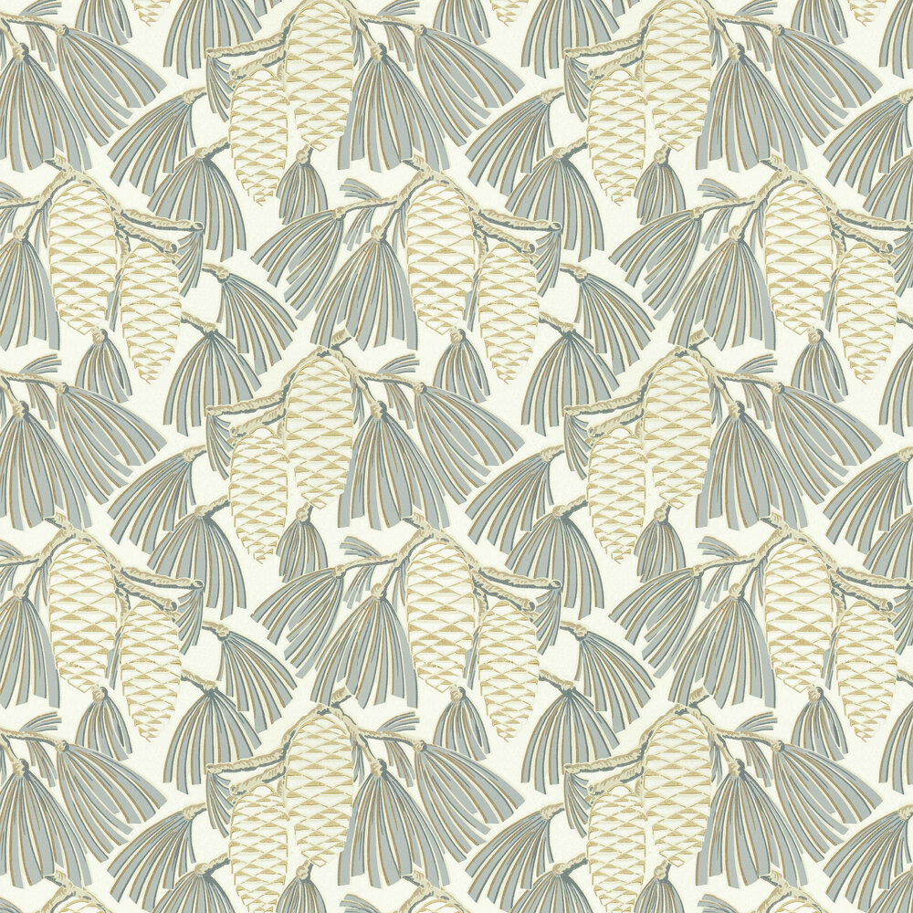Foxley Wallpaper - Platinum/ Gold - by Harlequin