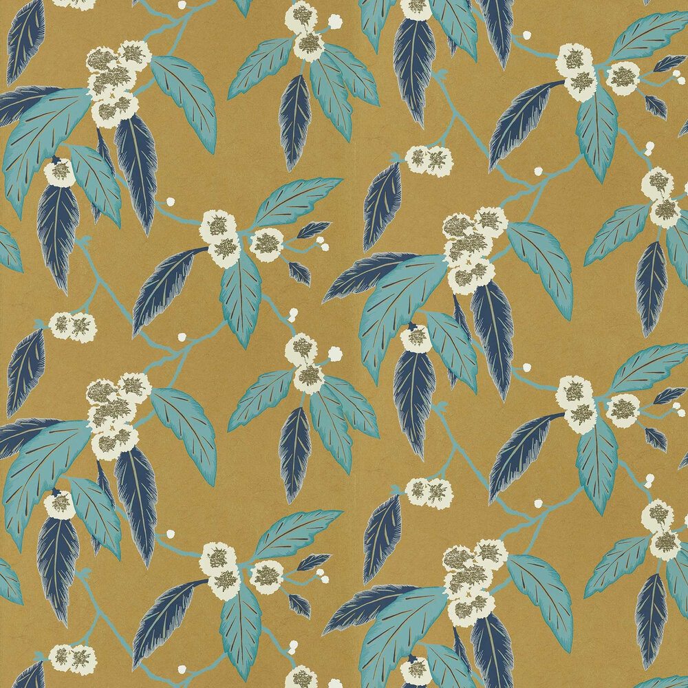 Coppice Wallpaper - Navy/ Lagoon/ Gold - by Harlequin