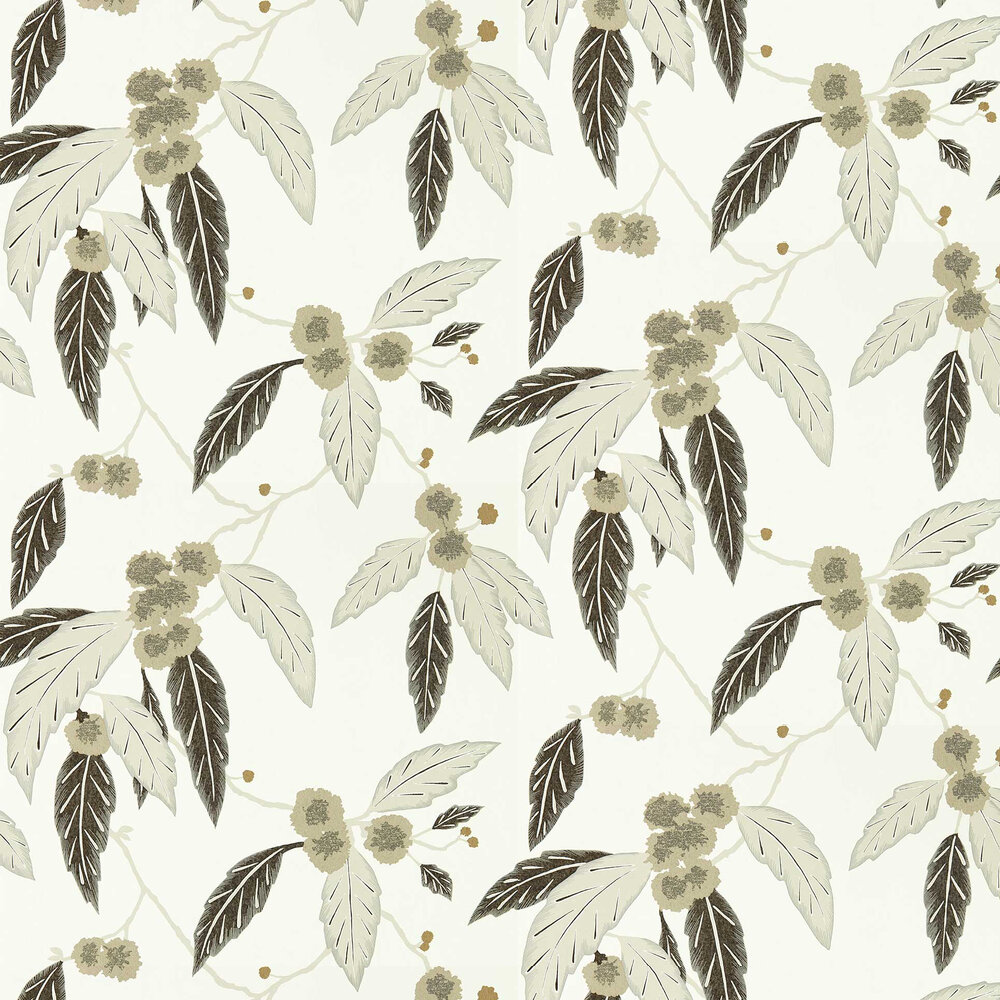 Coppice Wallpaper - Oyster/ Ebony/ Gilver - by Harlequin