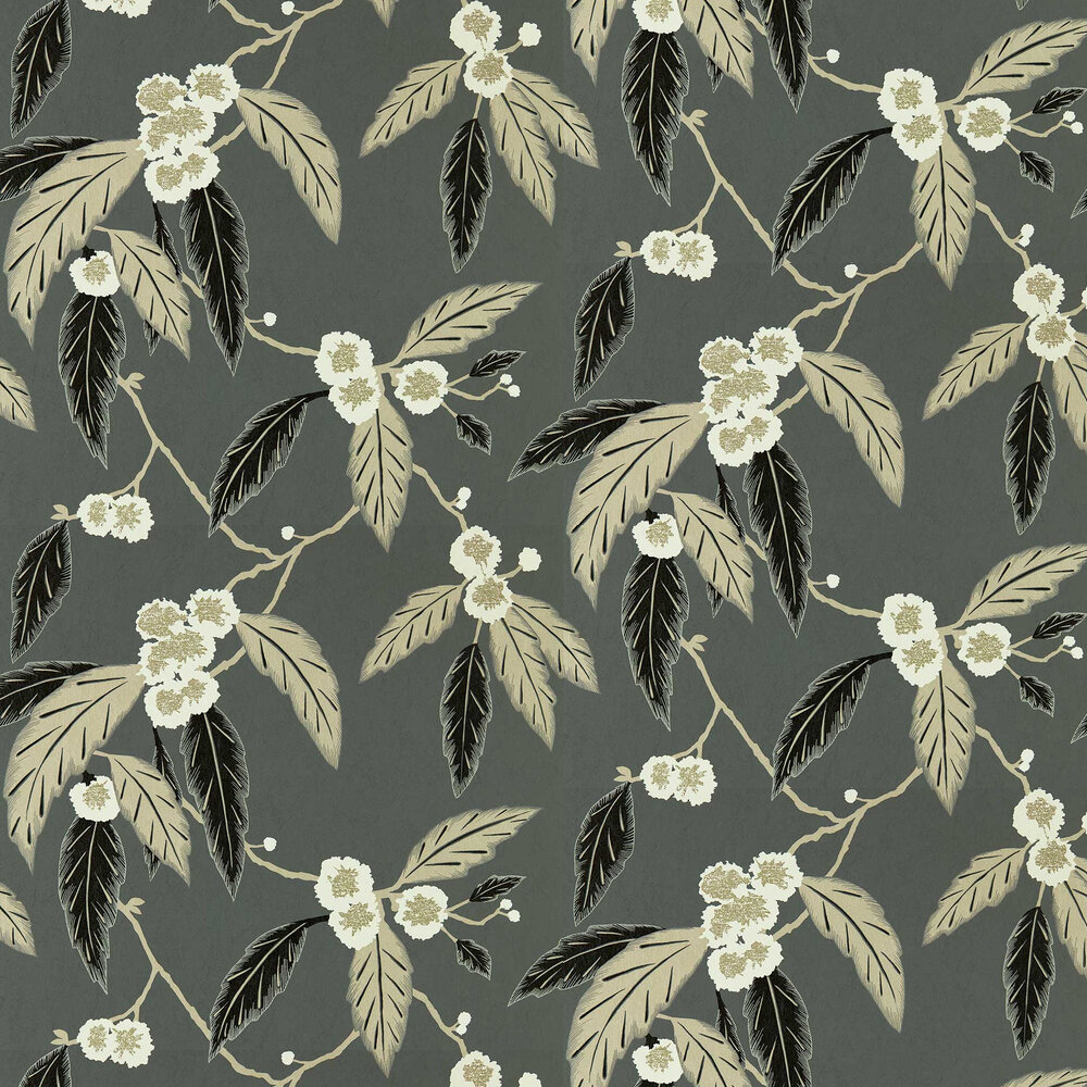 Coppice Wallpaper - Ebony/ Putty/ Snow - by Harlequin