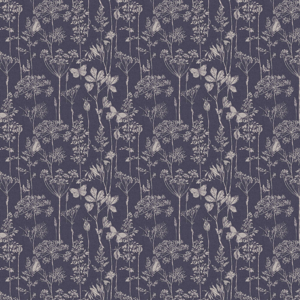 Meadow Floral Wallpaper - Indigo - by Arthouse