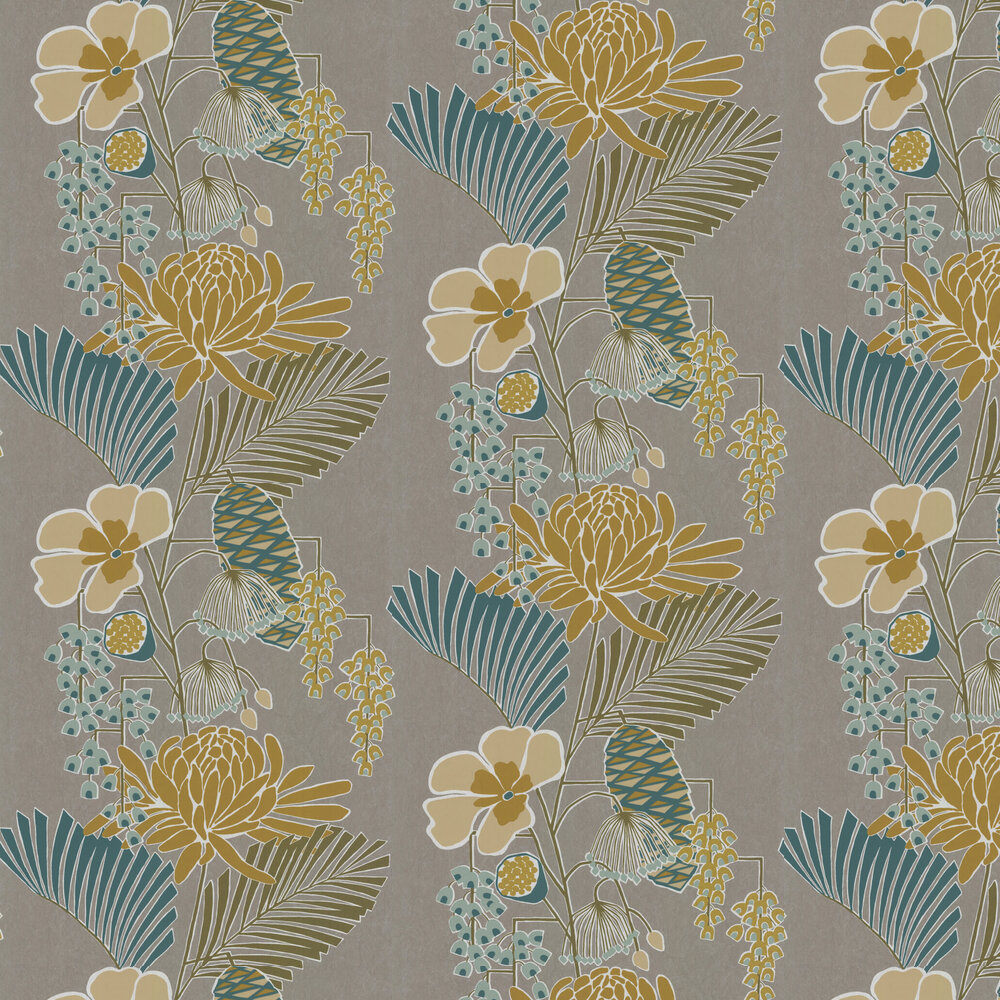 Salon Wallpaper - Platinum/ Peacock/ Seafoam - by Harlequin