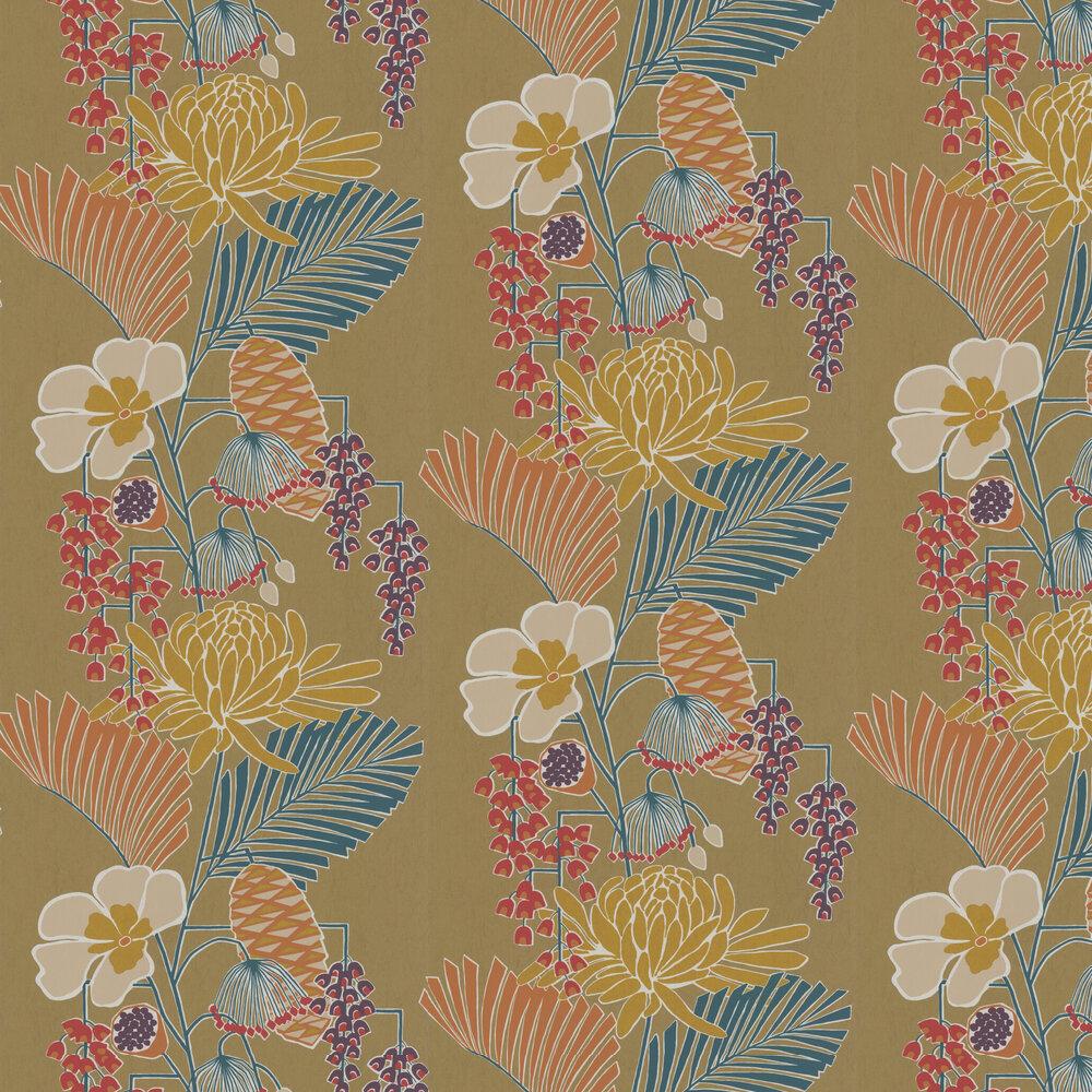 Salon Wallpaper - Gold/ Russett/ Atlantic - by Harlequin
